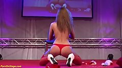 skinny Milf masturbating on public stage