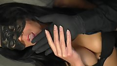 Masked German Brunette Babe Getting Fisted by a Black Latex Glove