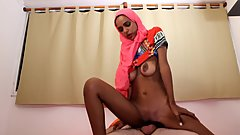 Arab MILF in Pink Hijab Hard Interracial Fucking with White Man
