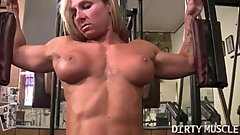 Ripped Blonde Female Bodybuilder Shows Off Her Muscles and Big Clit