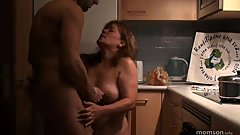 Step Mom son fucking in kitchen when everyone's slept