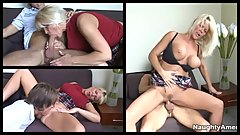 dirty-hot MILF Jerrika Michaels bangs son's college buddy (3 screens in 1)