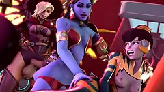 Overwatch Futa Mercy, Widowmaker, Symmetra, and Dva Orgy