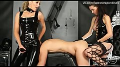 Double Domme Strapon Session With Bound Slave