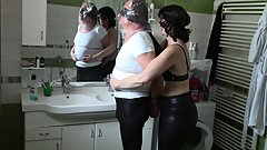 Slave in mirror, plastic bag, handjob and cumshot