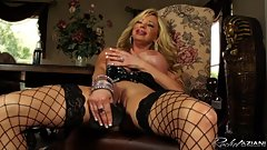 Rachel Aziani plays with a BBC while rubbing her swollen clit