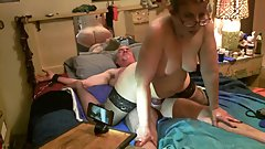 Sub has screaming orgasm riding tied down master