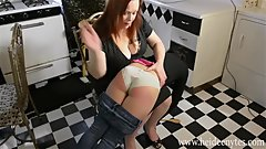 Teen Babysitter Spanked While Creepy Husband Watches part 1