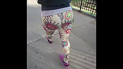 Wife in tight leggings vpl voyeur public