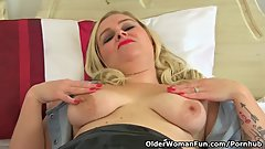 English mum Lily Milf puts her dildo to work