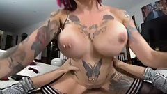 Virtual girl with a tattoo Anna Bell Peaks sucks and pushes on your dick VR