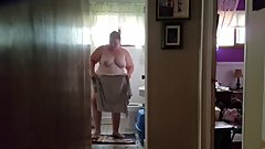 249 lb Fat Chrissy in the bathroom at home