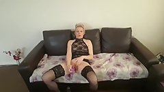pretty mature woman entertains herself with a dildo and vibrator