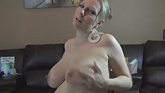Pregnant Britney plays with her huge tits