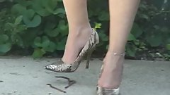 Classic Stilleto Crush Tabitha Crush Worms Snakeskin Pumps