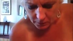 GILF sucks young man in panties
